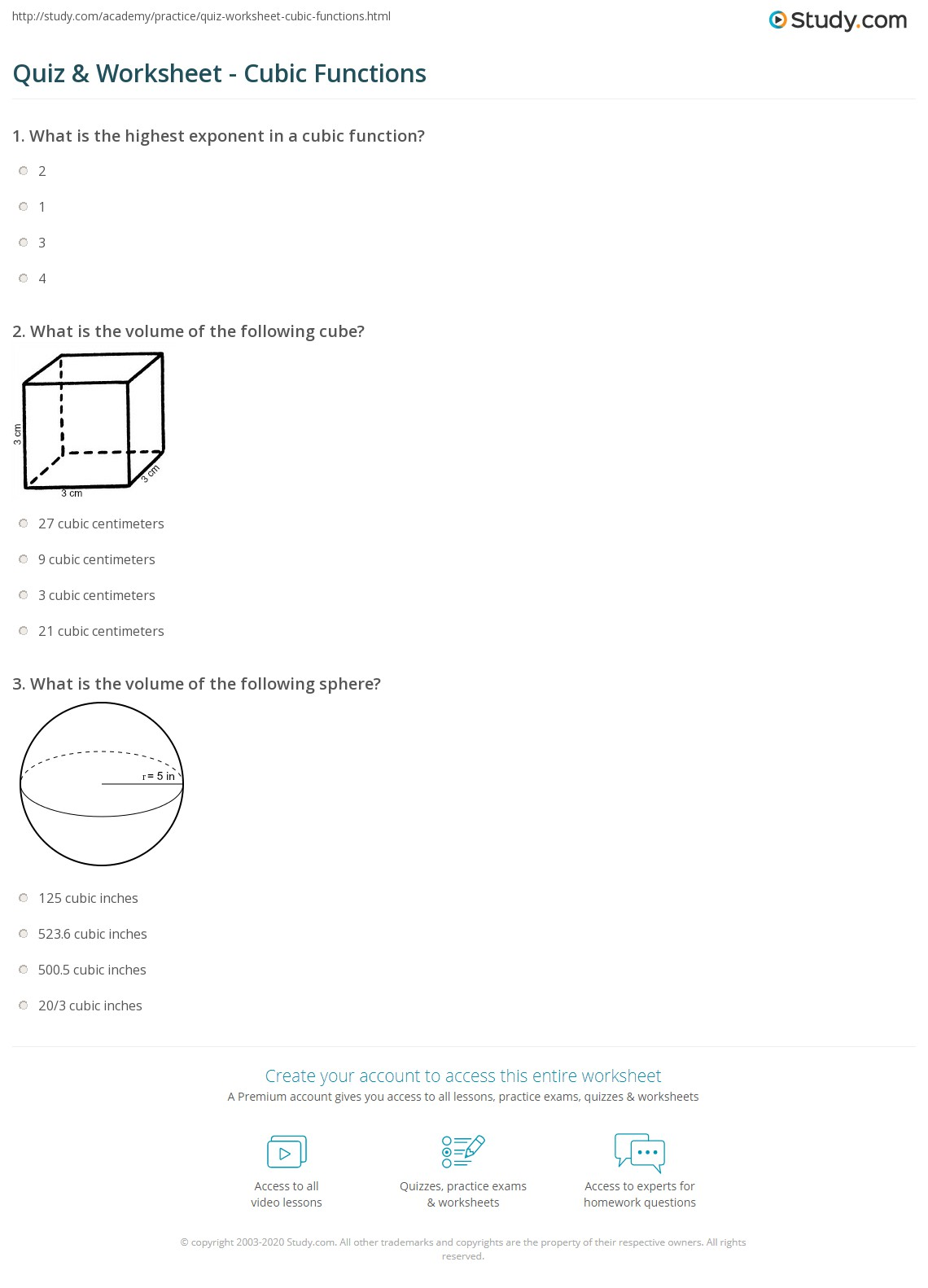 Quiz Worksheet Cubic Functions – Graphing Cubic Functions Worksheet