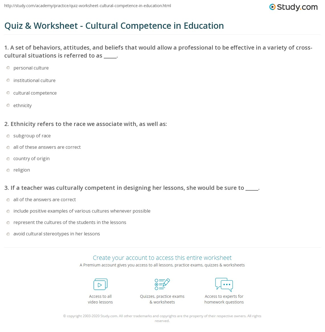 Quiz Worksheet Cultural Competence in Education – Education Worksheets