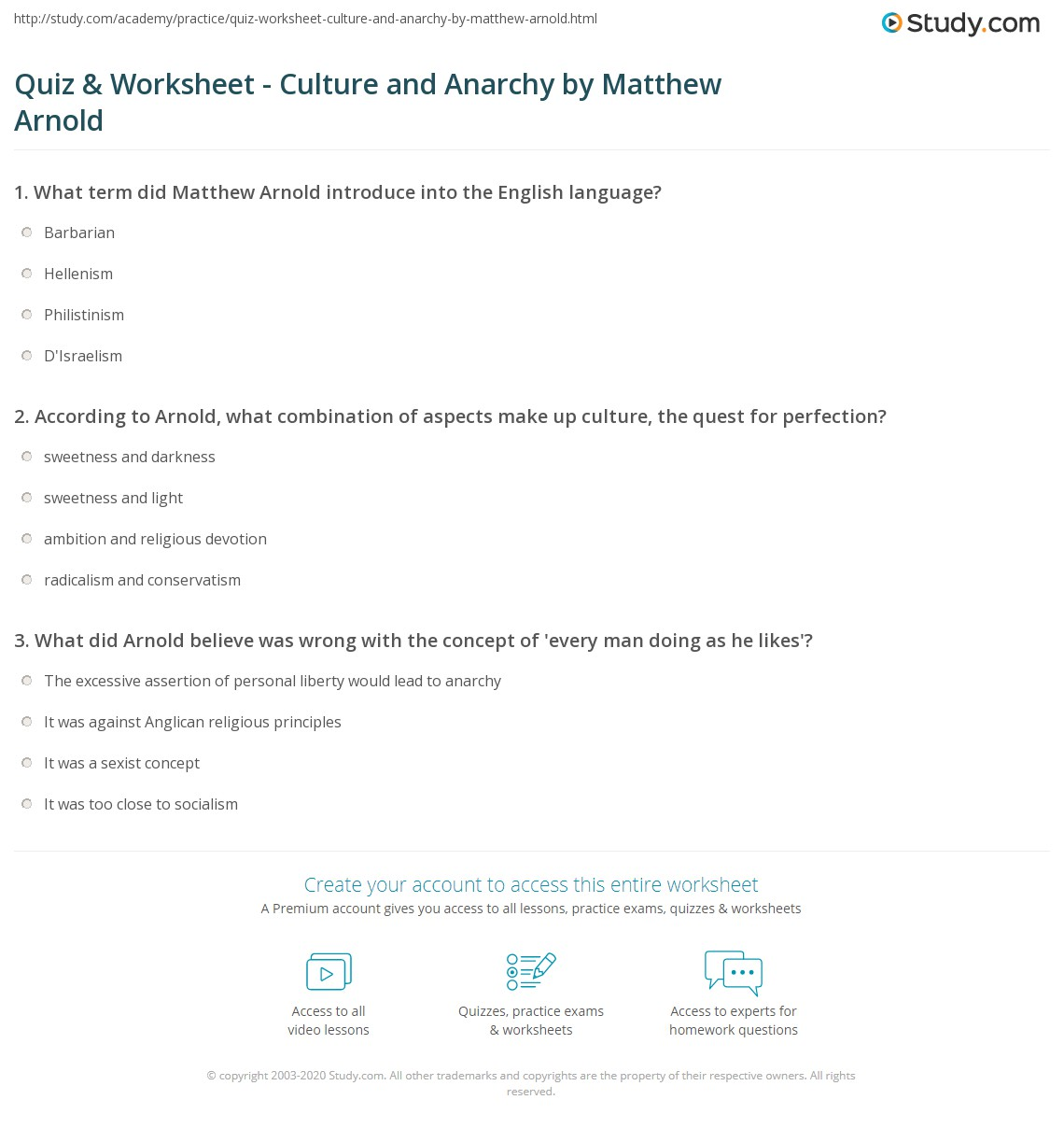 quiz worksheet culture and anarchy by matthew arnold study com print culture and anarchy by matthew arnold summary analysis worksheet