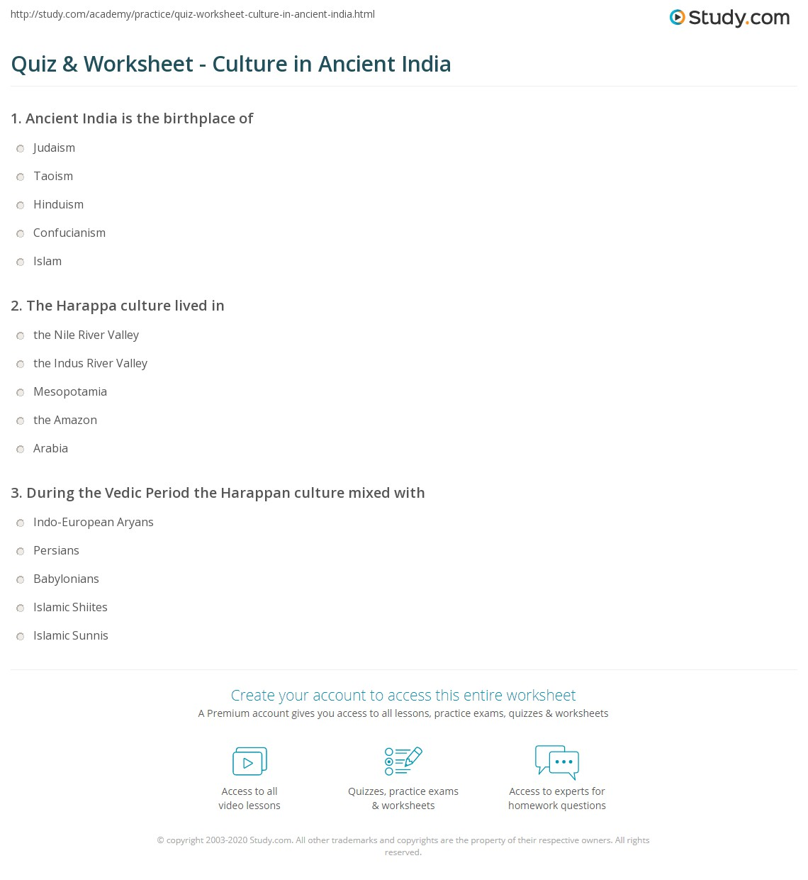 Ancient India Worksheets – Menu Math Worksheet