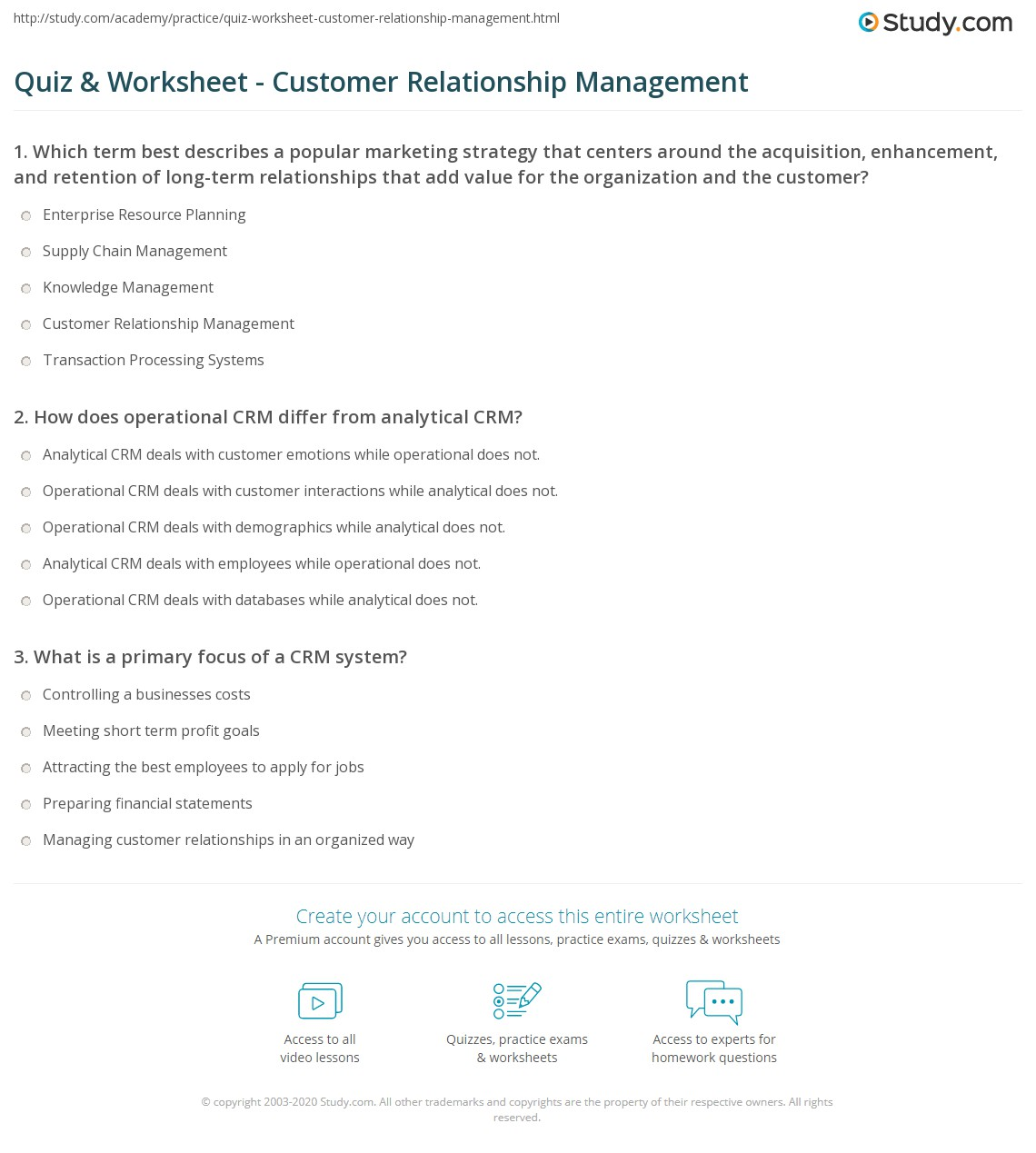 Worksheets Crm Worksheet quiz worksheet customer relationship management study com print using crm to focus on customers worksheet