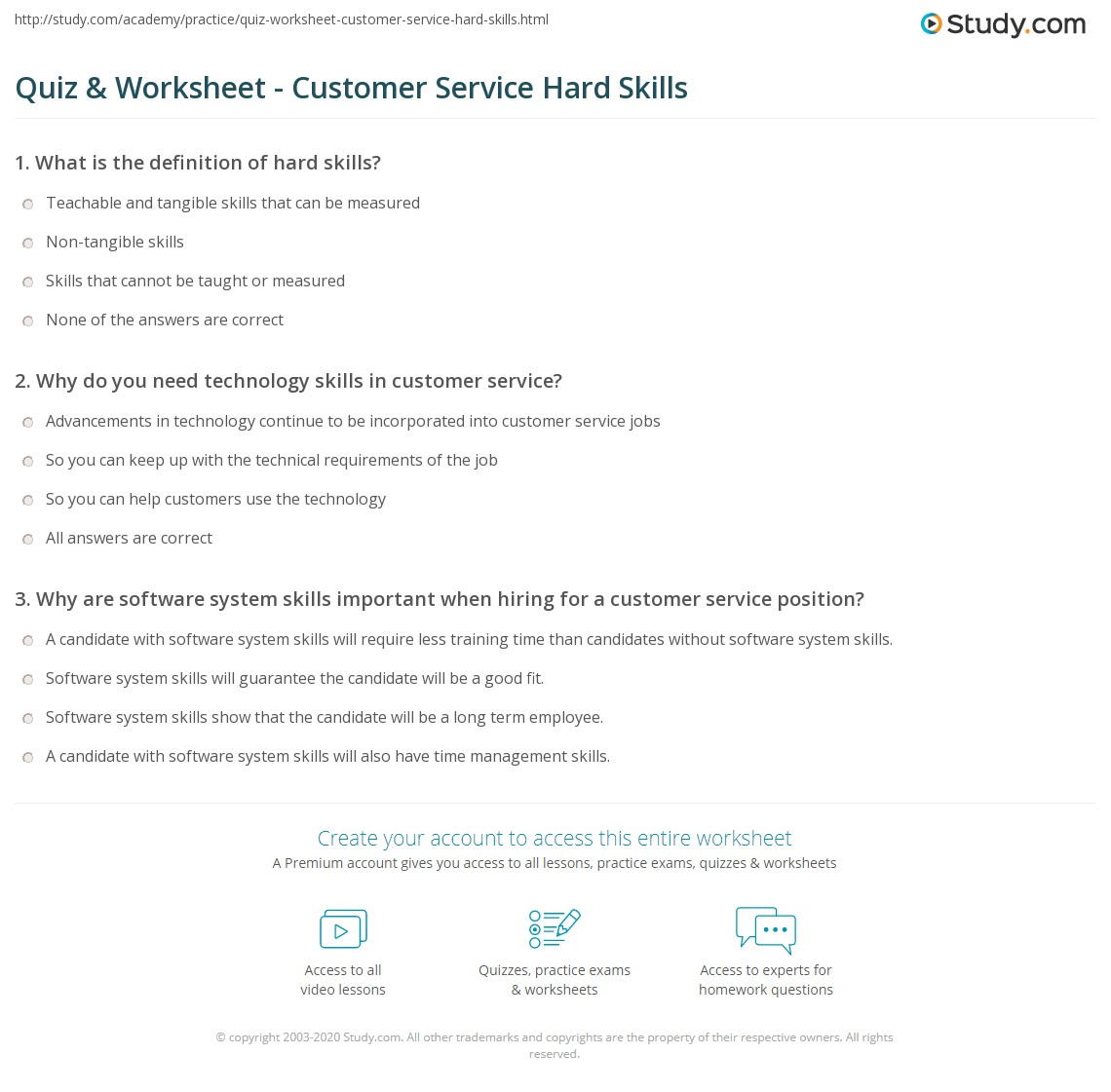 quiz worksheet customer service hard skills com print important hard skills for customer service worksheet