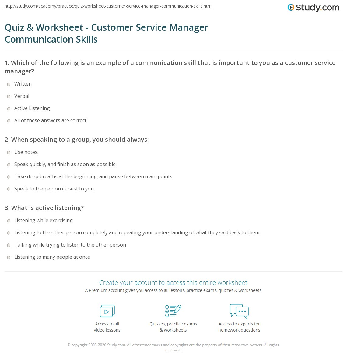 quiz worksheet customer service manager communication skills print communication skills for customer service managers worksheet