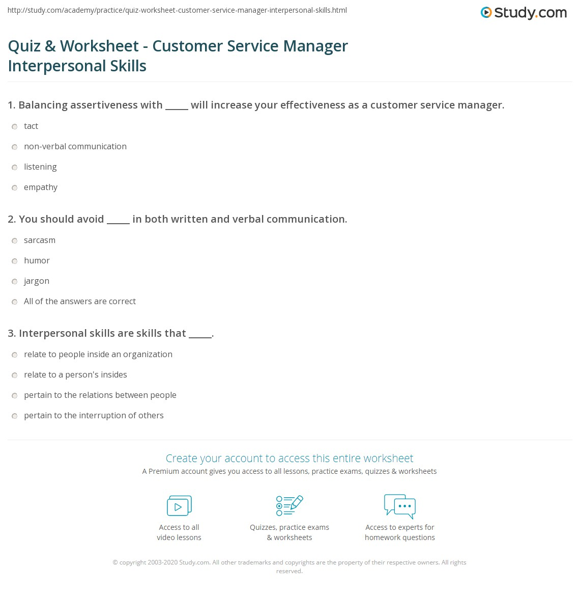 quiz worksheet customer service manager interpersonal skills print interpersonal skills for customer service managers worksheet