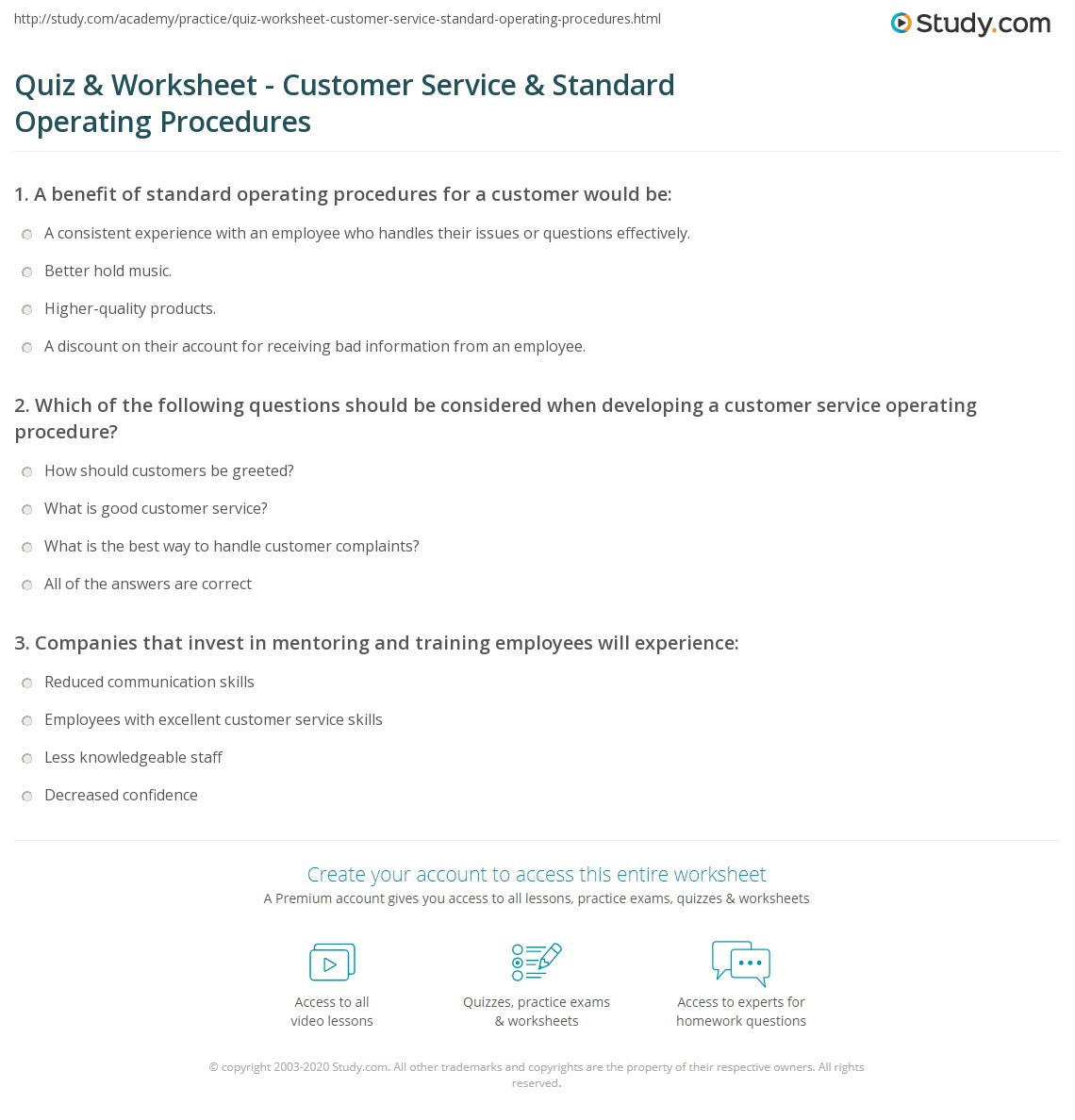 quiz worksheet customer service standard operating questions to consider when developing a customer service operating procedure include
