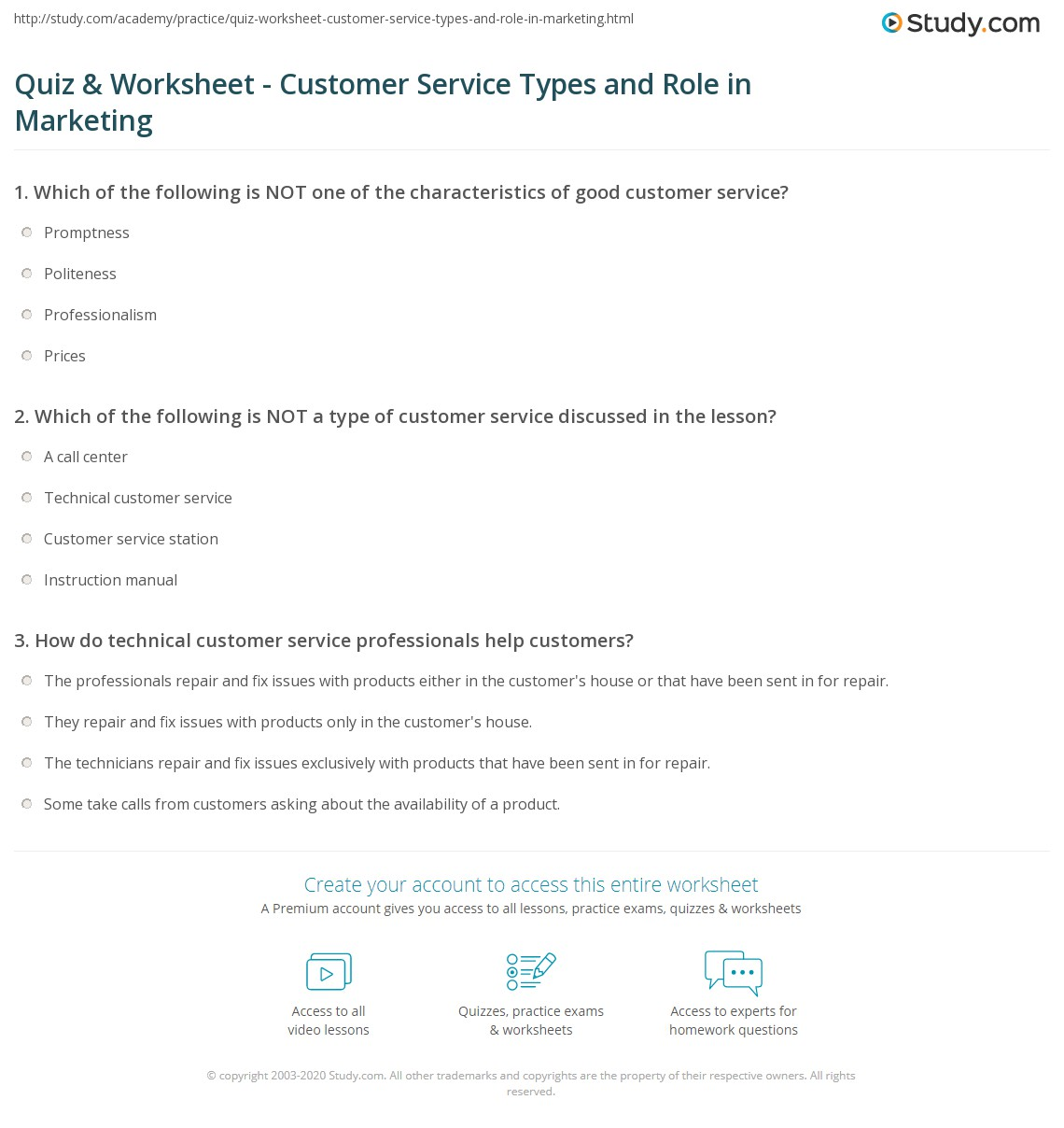 Quiz & Worksheet - Customer Service Types and Role in Marketing ...