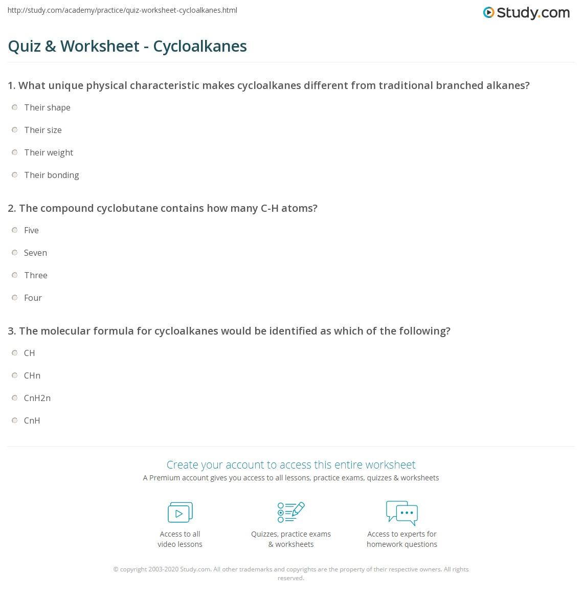 Quiz Worksheet Cycloalkanes – Naming Alkenes Worksheet