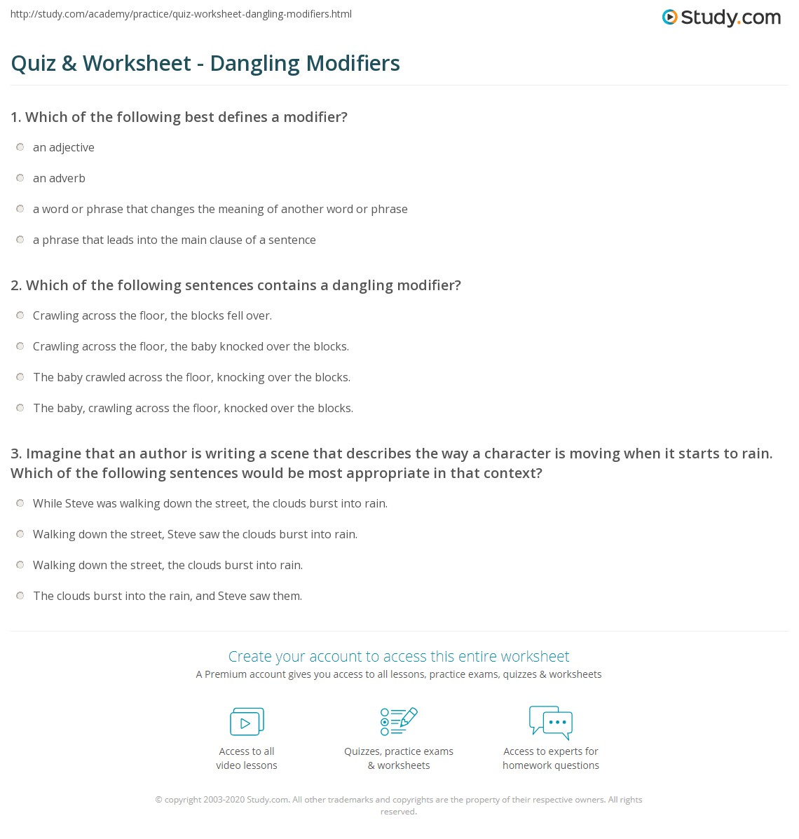 {Quiz Worksheet Dangling Modifiers – Dangling Modifier Worksheet