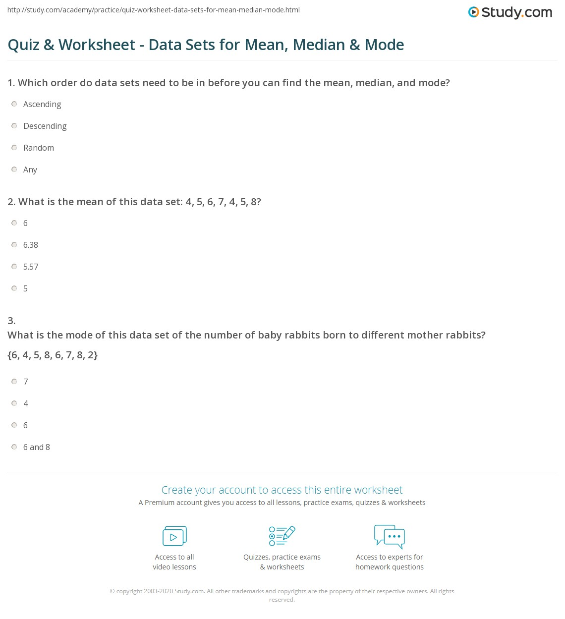 worksheet Mean Median Mode Worksheet quiz worksheet data sets for mean median mode study com print set in math definition examples worksheet