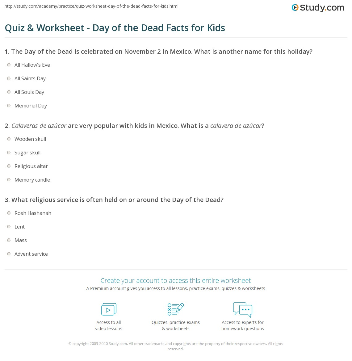 Free Worksheet Dia De Los Muertos Worksheets quiz worksheet day of the dead facts for kids study com print lesson worksheet