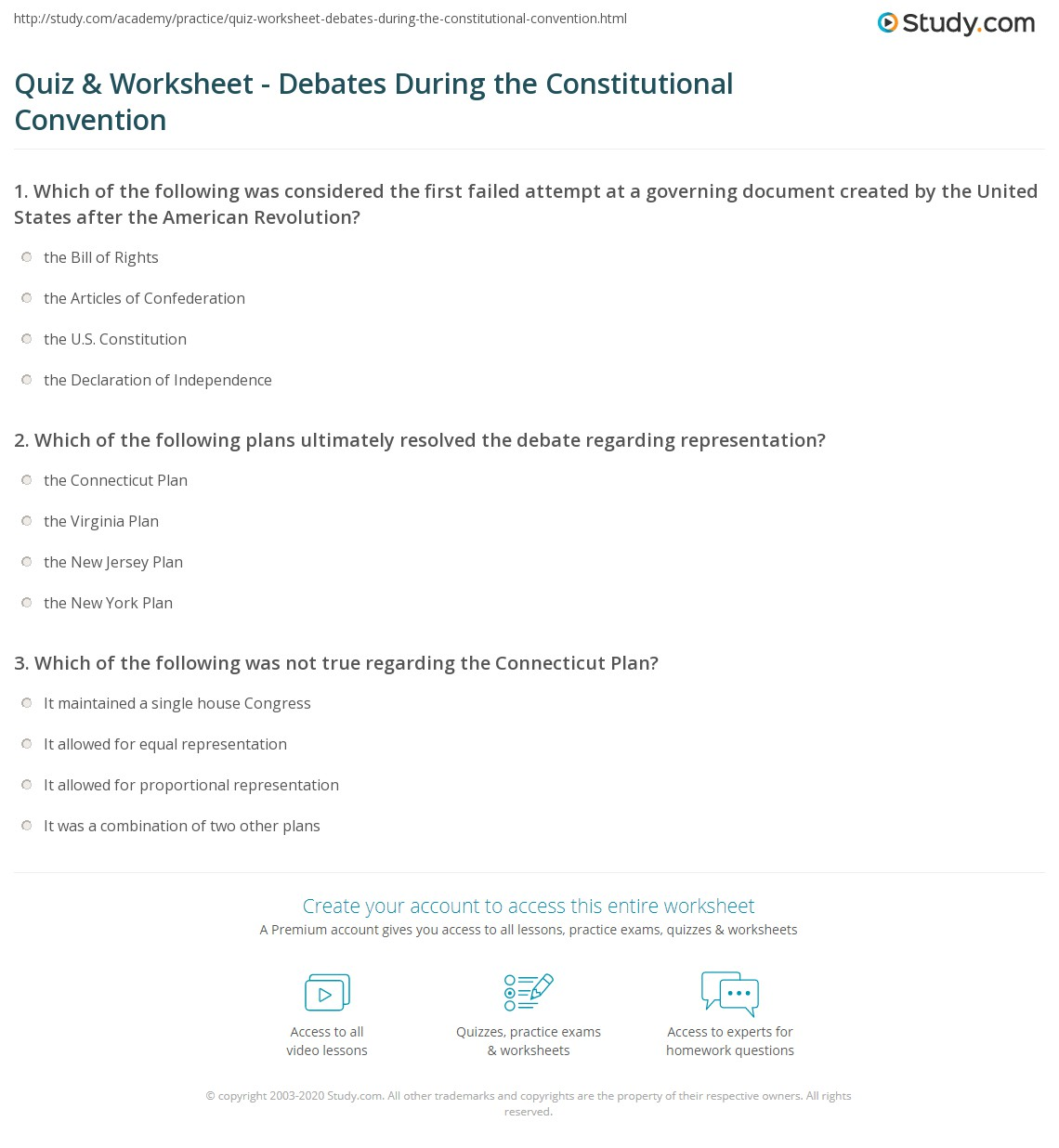 {Quiz Worksheet Debates During the Constitutional Convention – Constitutional Convention Worksheet