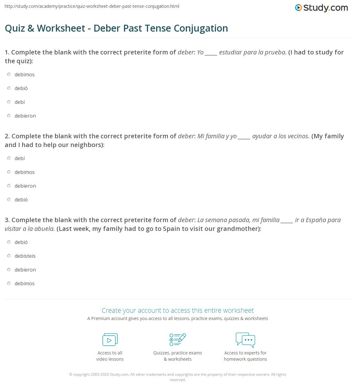 Quiz & Worksheet - Deber Past Tense Conjugation | Study.com
