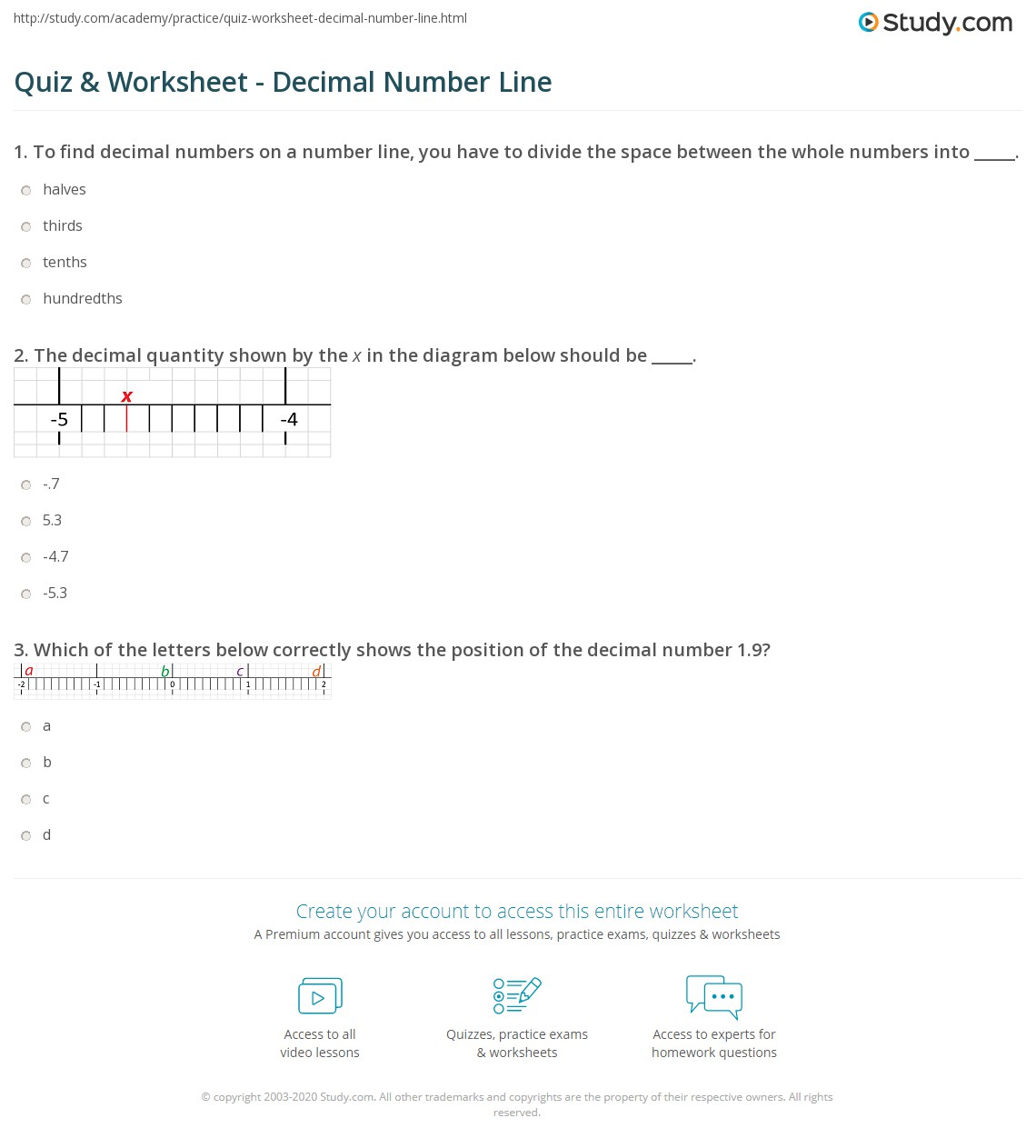 worksheet Placing Fractions On A Number Line Worksheet quiz worksheet decimal number line study com print placing finding decimals on a worksheet