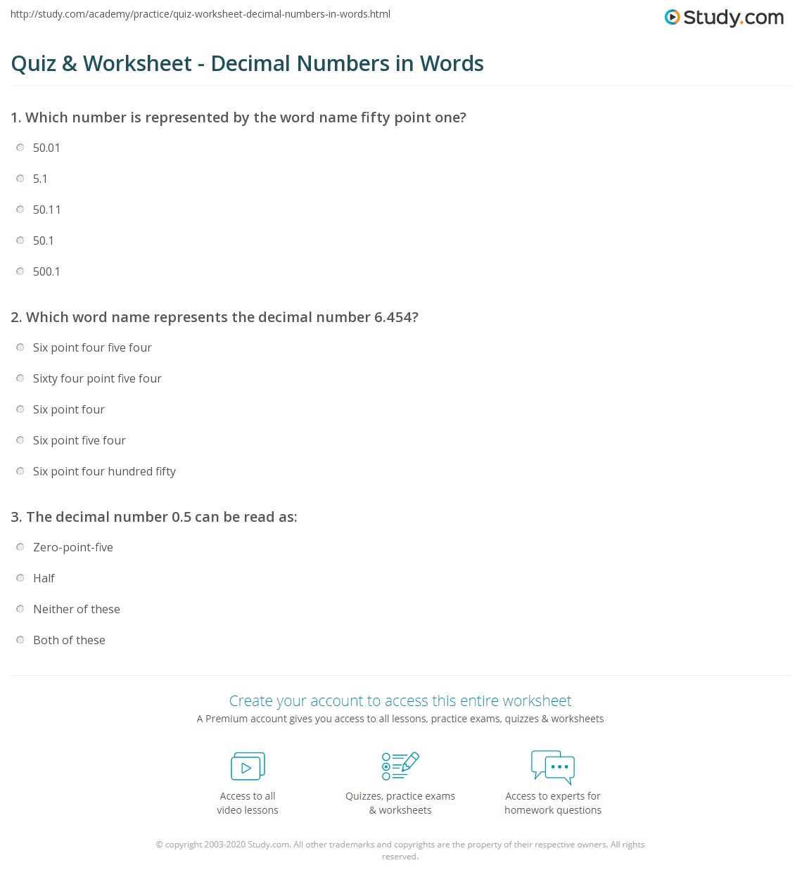 Worksheet #7521065: Writing Decimals in Words Worksheets – Reading ...