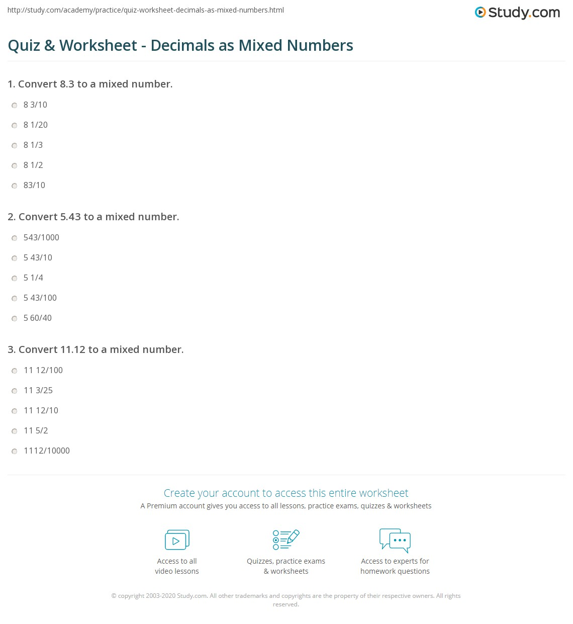 Quiz Worksheet Decimals as Mixed Numbers – Reading and Writing Decimals Worksheet