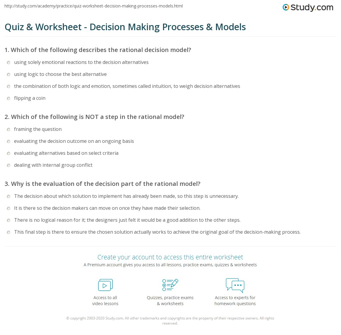 Quiz & Worksheet - Decision Making Processes & Models | Study.com