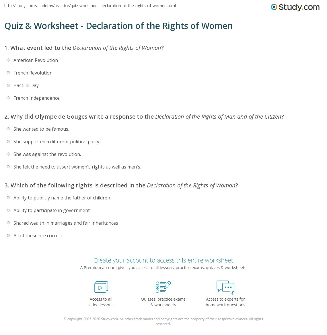 quiz worksheet declaration of the rights of women. Black Bedroom Furniture Sets. Home Design Ideas