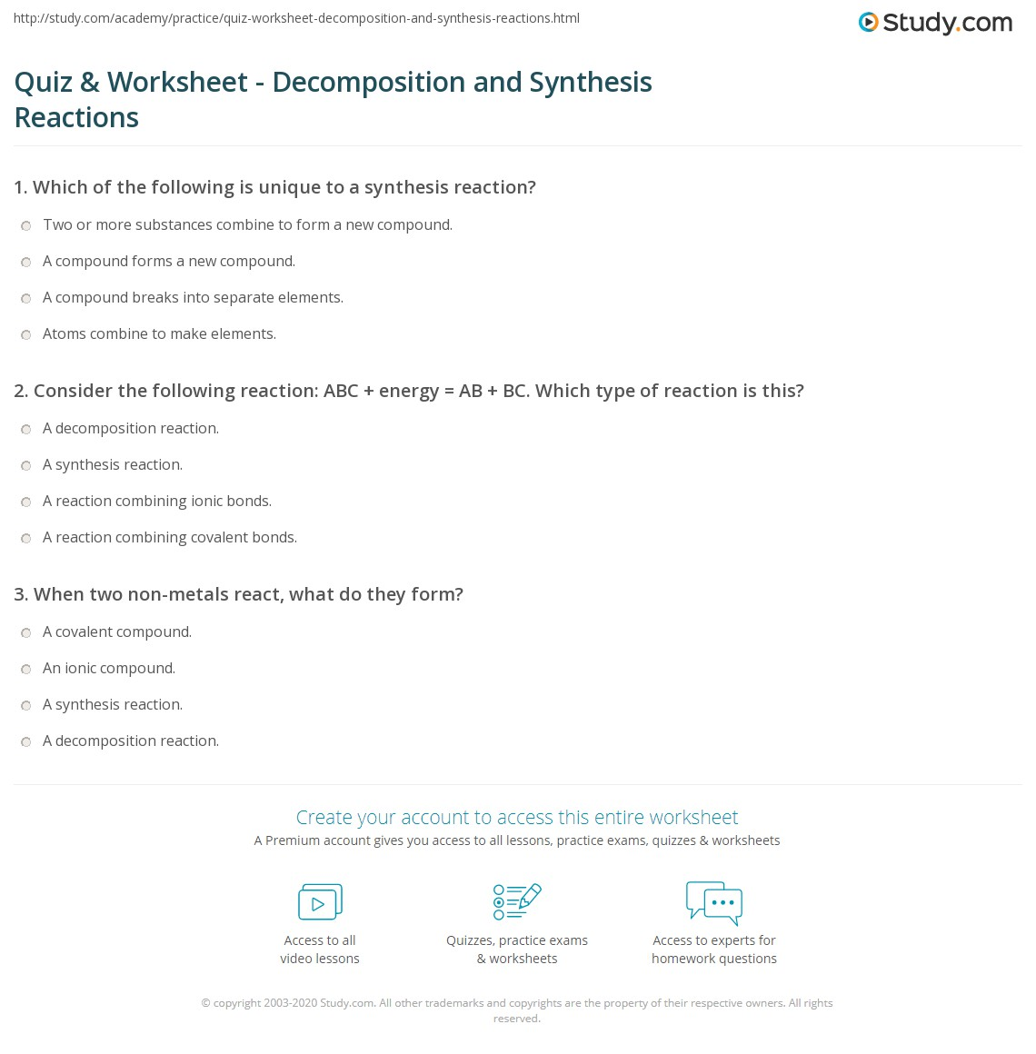 {Quiz Worksheet Decomposition and Synthesis Reactions – Synthesis Reactions Worksheet