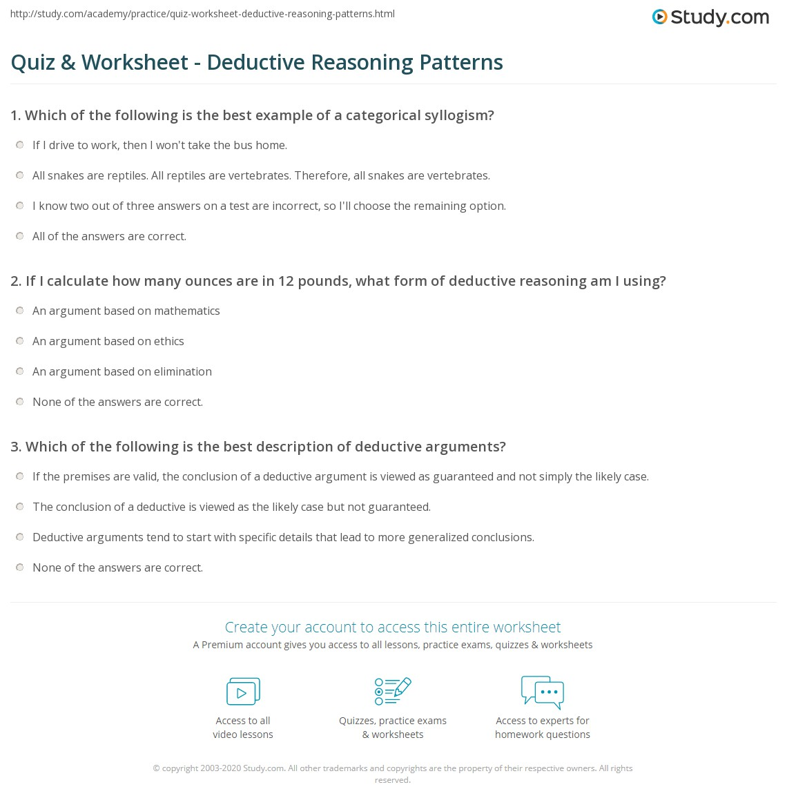 Worksheets Inductive Reasoning Worksheet quiz worksheet inductive deductive reasoning in geometry print definition uses worksheet