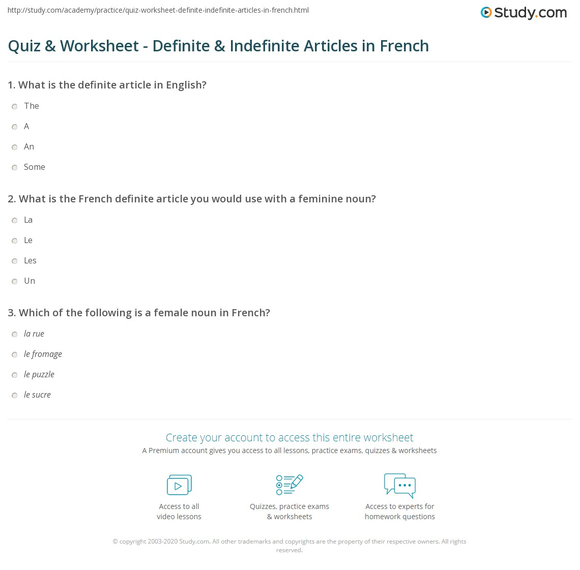 Worksheets Beginner French Worksheets quiz worksheet definite indefinite articles in french print and worksheet