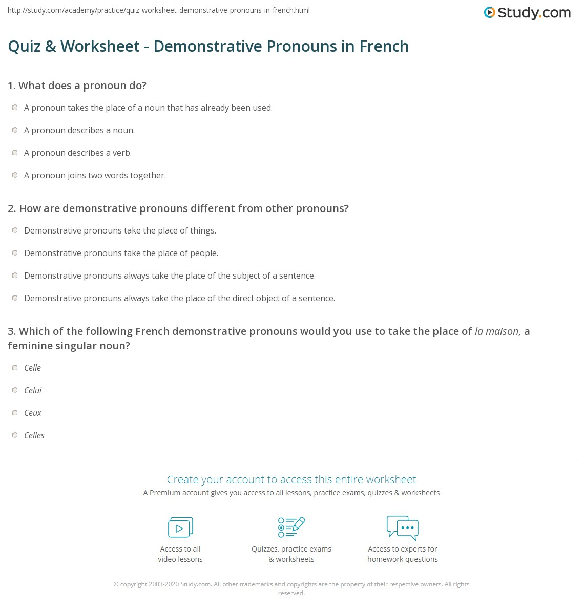 Quiz & Worksheet - Demonstrative Pronouns in French  Study.com education, multiplication, alphabet worksheets, and grade worksheets Noun And Pronoun Worksheets For Middle School 1446 x 1140