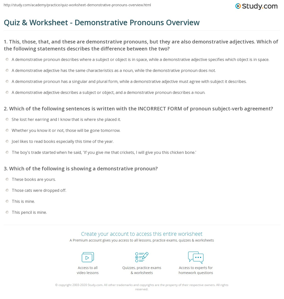 Quiz Worksheet Demonstrative Pronouns Overview – Subject Verb Agreement Practice Worksheets