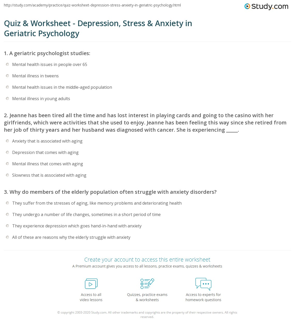 Quiz & Worksheet - Depression, Stress & Anxiety in Geriatric ...