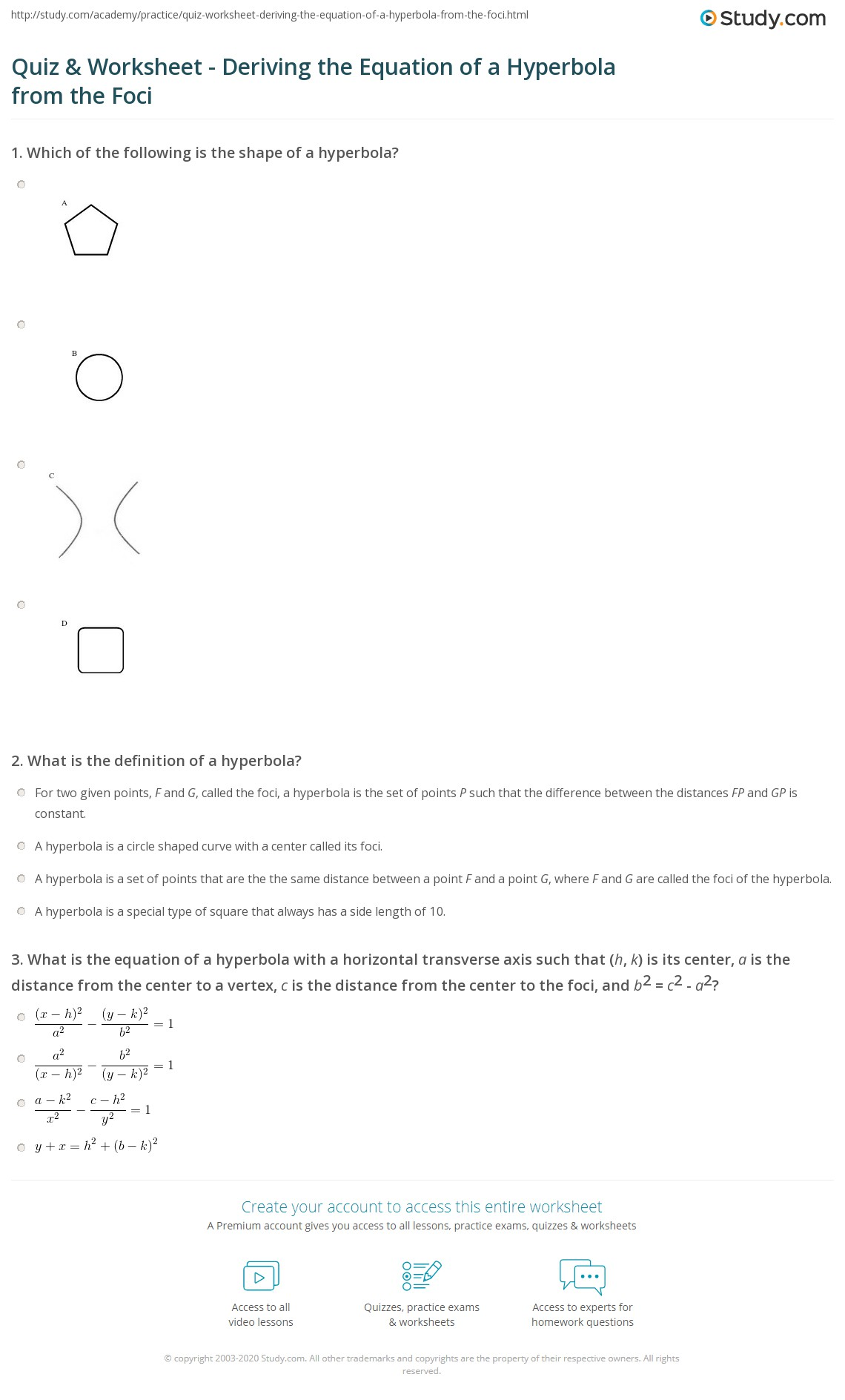 Collection of Hyperbola Worksheet Sharebrowse – Hyperbola Worksheet