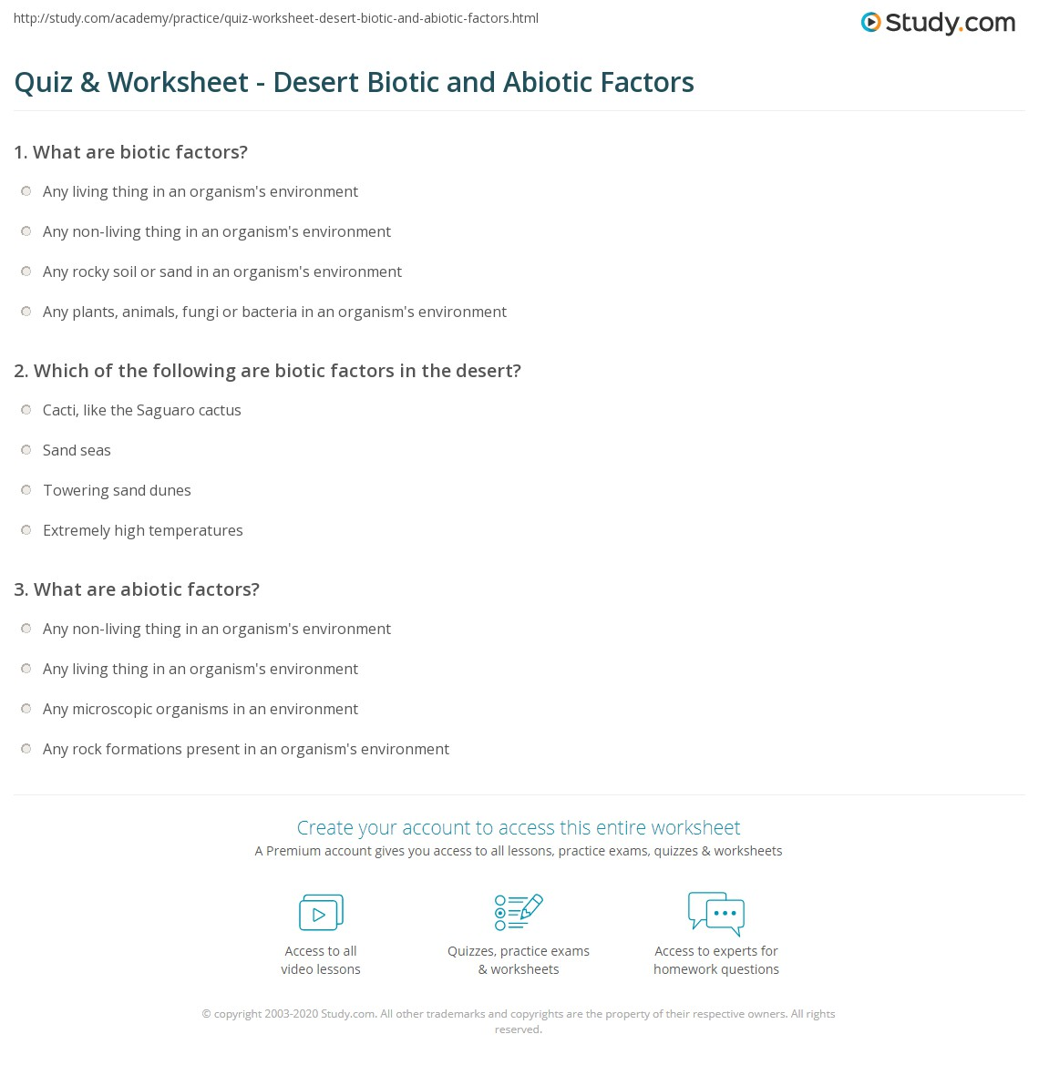 Quiz Worksheet Desert Biotic and Abiotic Factors – Abiotic and Biotic Factors Worksheet