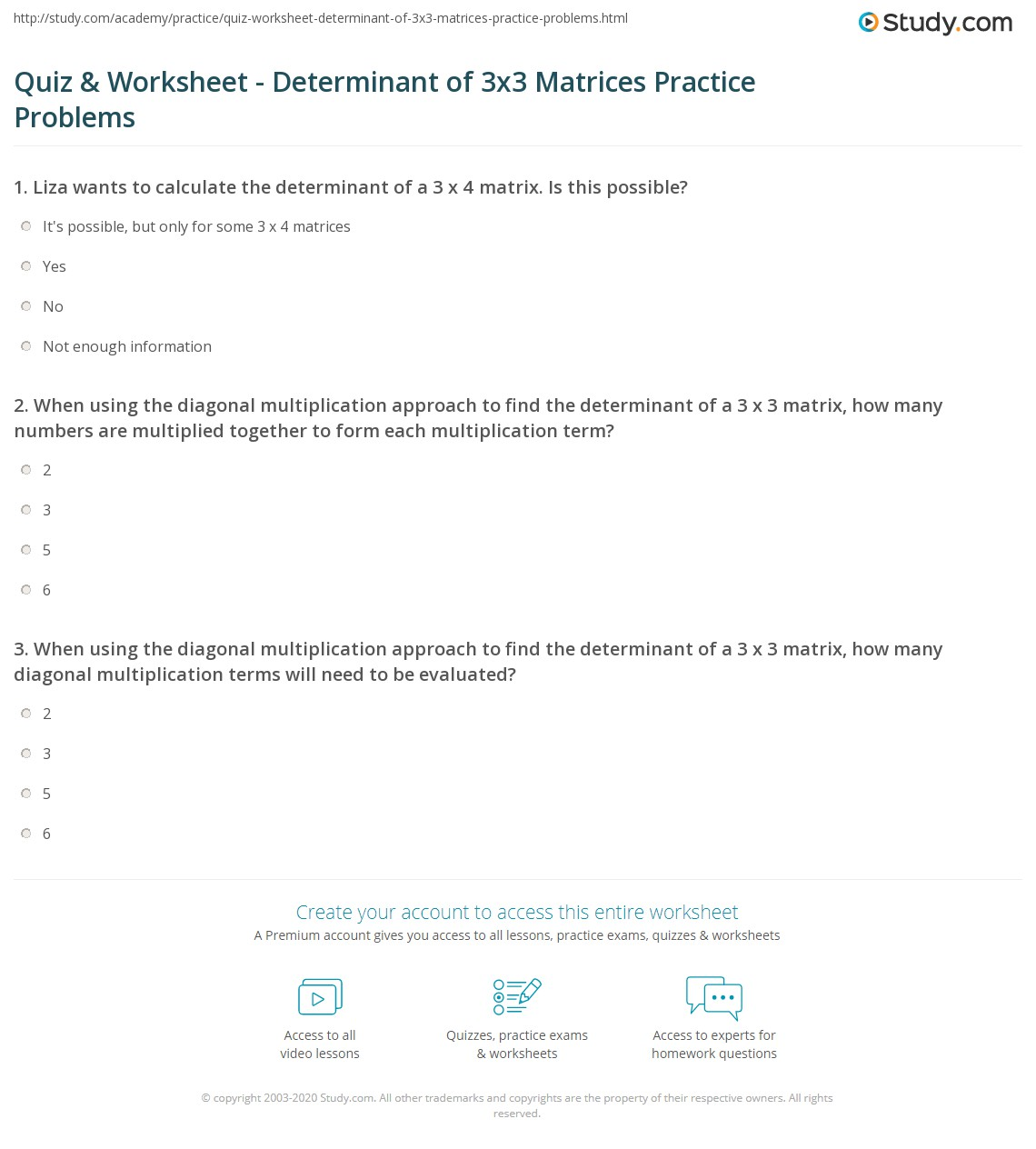 quiz worksheet determinant of 3x3 matrices practice problems. Black Bedroom Furniture Sets. Home Design Ideas