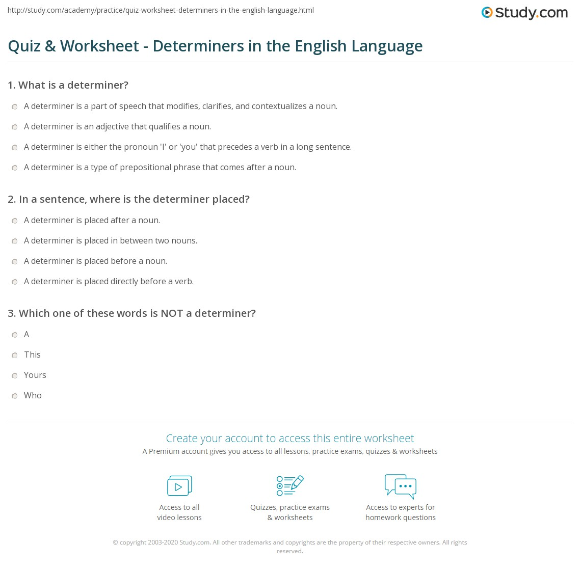 quiz worksheet determiners in the english language. Black Bedroom Furniture Sets. Home Design Ideas