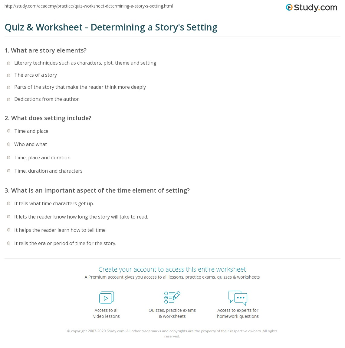 Quiz Worksheet Determining a Storys Setting – Setting of a Story Worksheets
