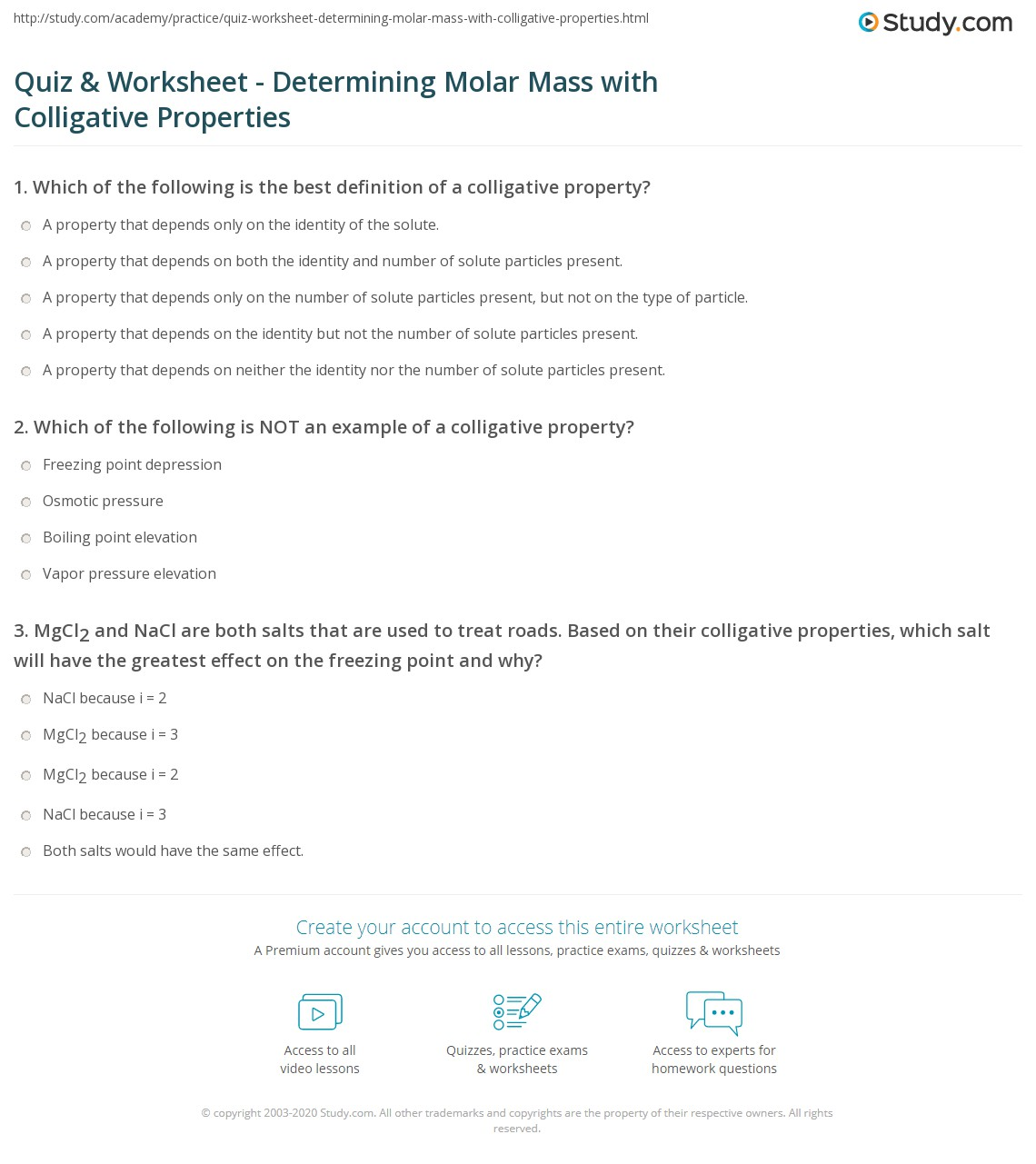 Worksheet Colligative Properties Worksheet quiz worksheet determining molar mass with colligative print using properties to determine worksheet