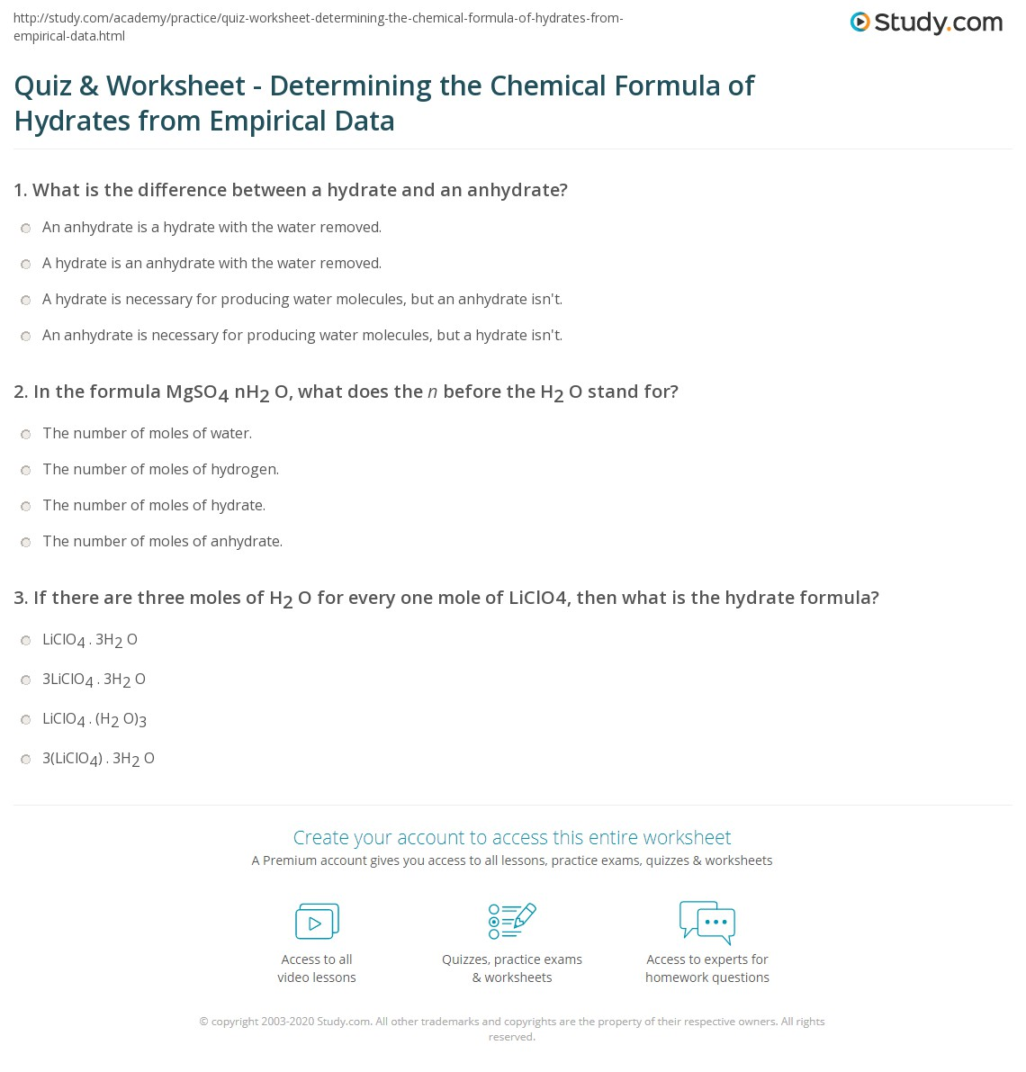 Quiz Worksheet Determining the Chemical Formula of Hydrates – Chemical Formulas Worksheet