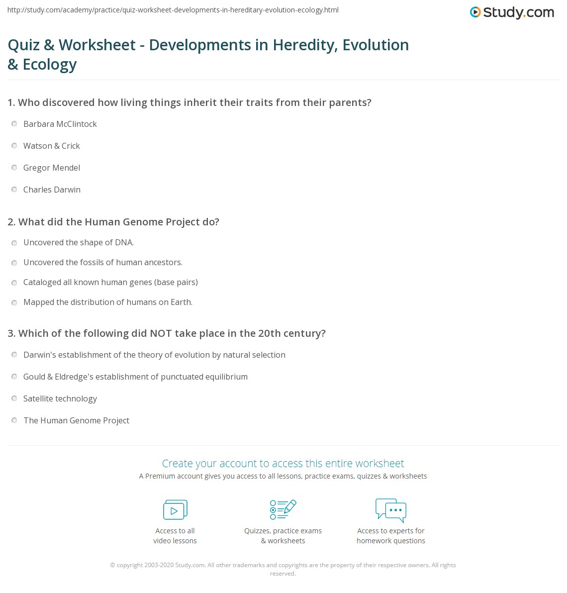 Quiz Worksheet Developments in Heredity Evolution Ecology – Ecology Worksheets for High School