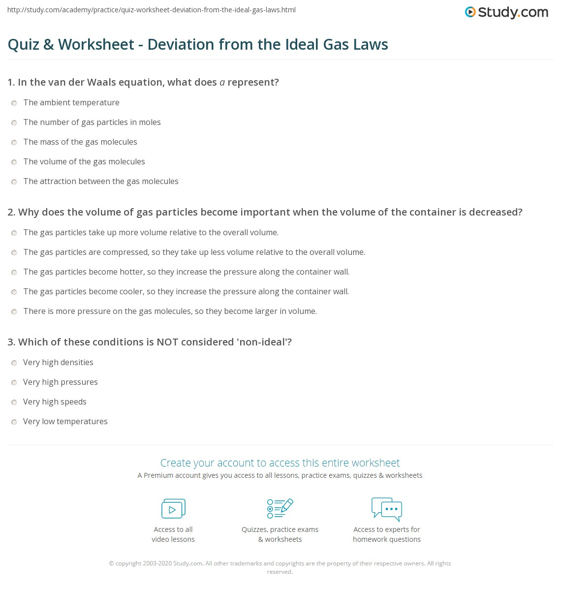 Quiz Worksheet Deviation from the Ideal Gas Laws – Ideal Gas Law Worksheet Answers