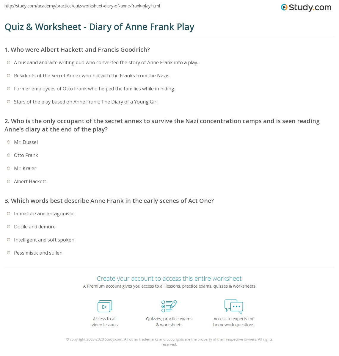 Worksheets Anne Frank Worksheets quiz worksheet diary of anne frank play study com print by albert hackett frances goodrich summary characters worksheet