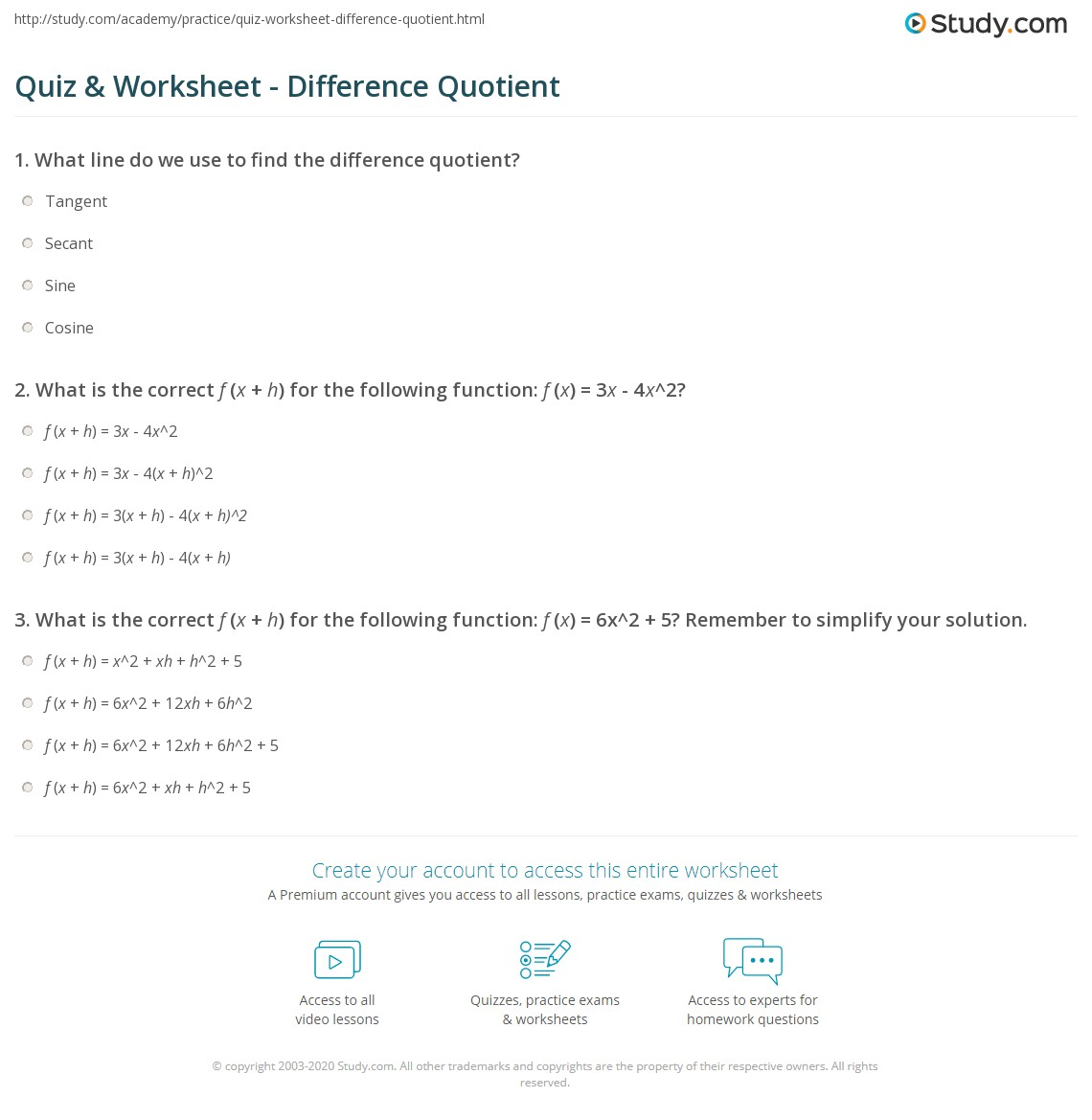 {Quiz Worksheet Difference Quotient – Difference Quotient Worksheet