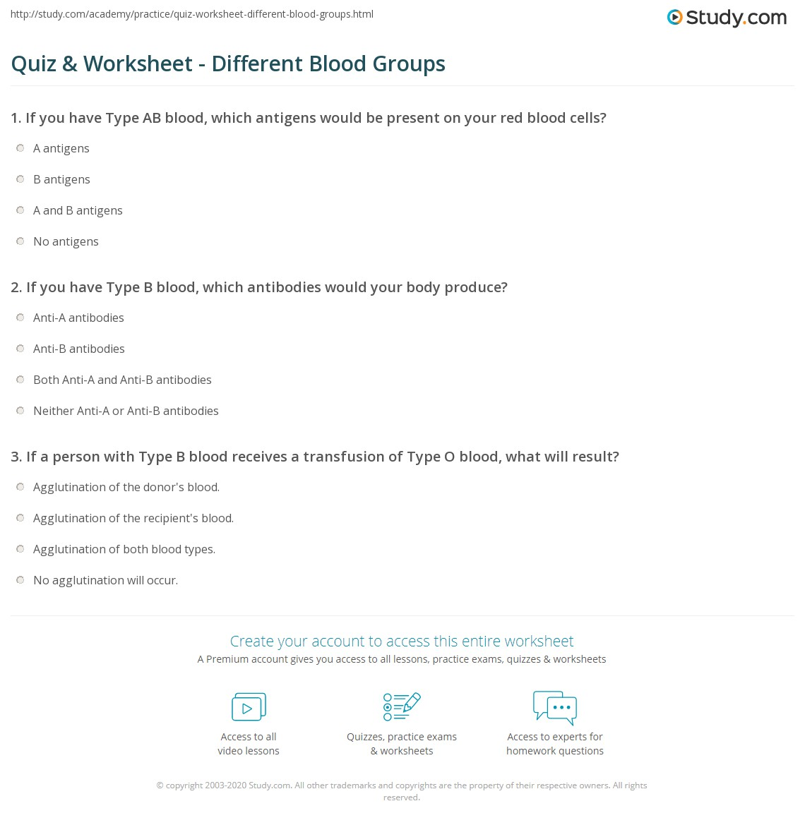 Quiz Worksheet Different Blood Groups – Blood Type Worksheet