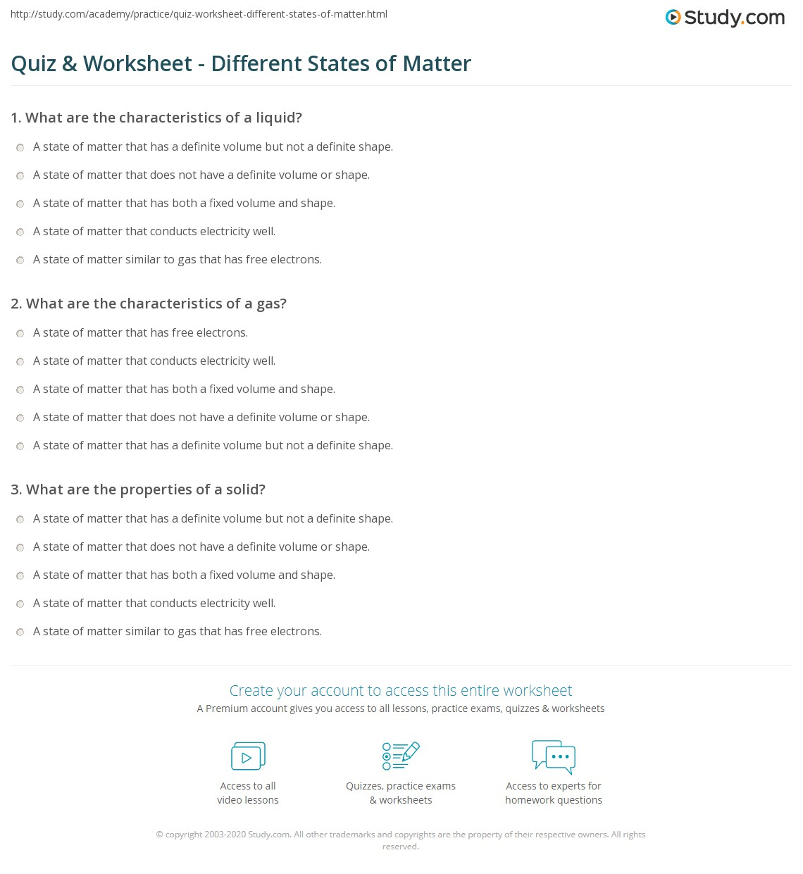 Quiz and Worksheet Different States of Matter – Solids Liquids and Gases Worksheets
