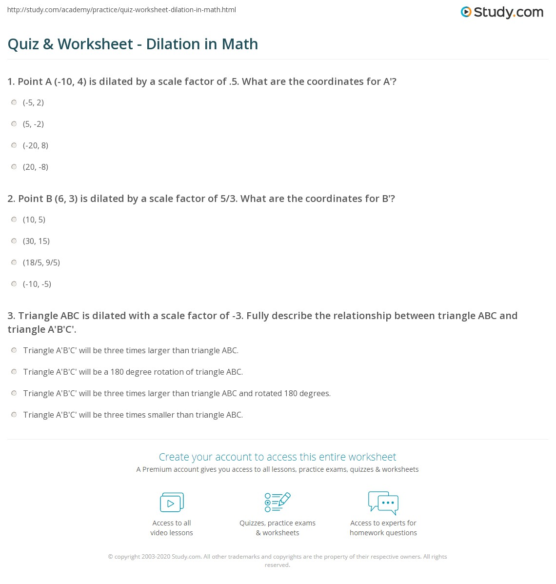 Quiz Worksheet Dilation in Math – Math Dilation Worksheet