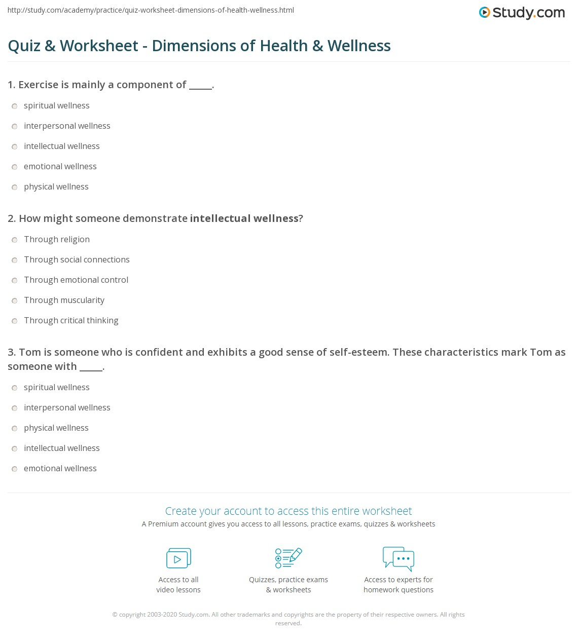 Quiz & Worksheet - Dimensions of Health & Wellness | Study.com