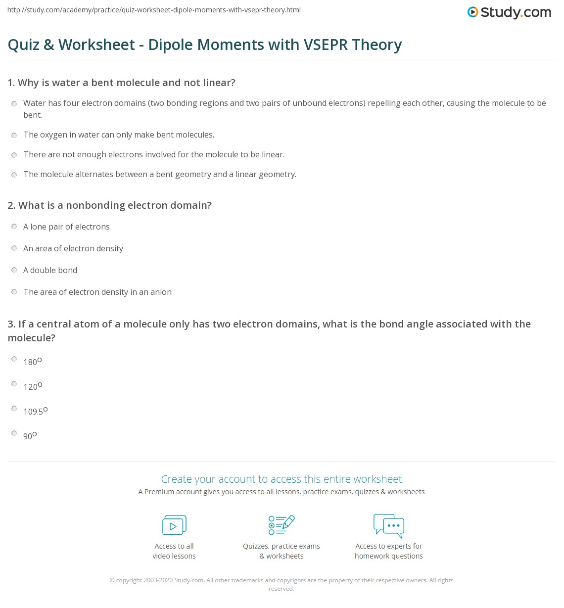 Quiz & Worksheet - Dipole Moments with VSEPR Theory | Study.com