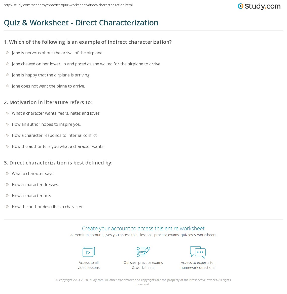 Free Worksheet Direct And Indirect Characterization Worksheet quiz worksheet direct characterization study com print definition examples worksheet