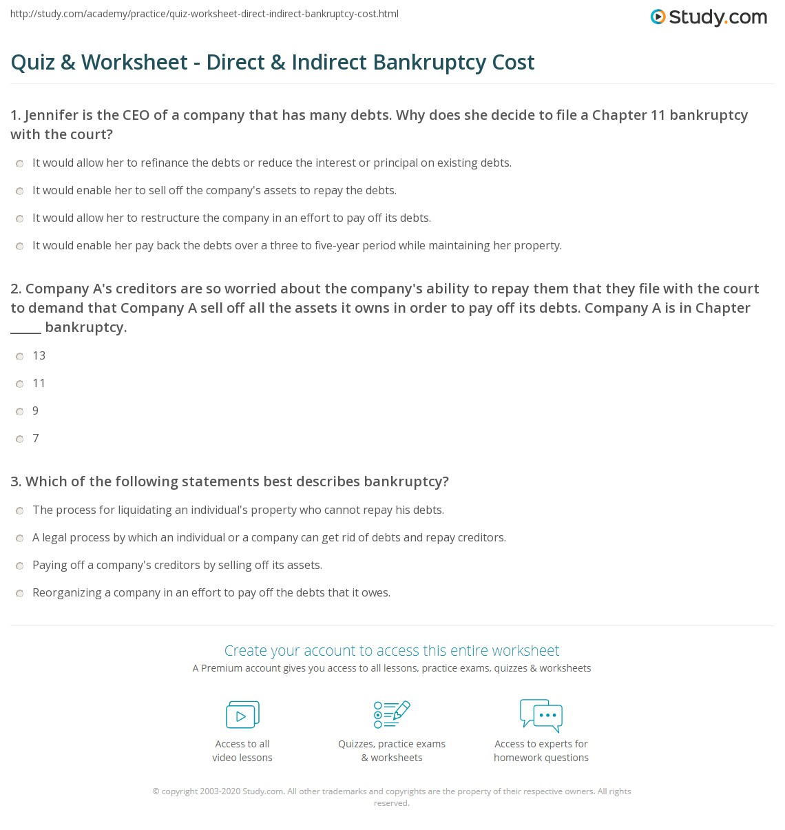 Print Direct & Indirect Bankruptcy Costs Worksheet