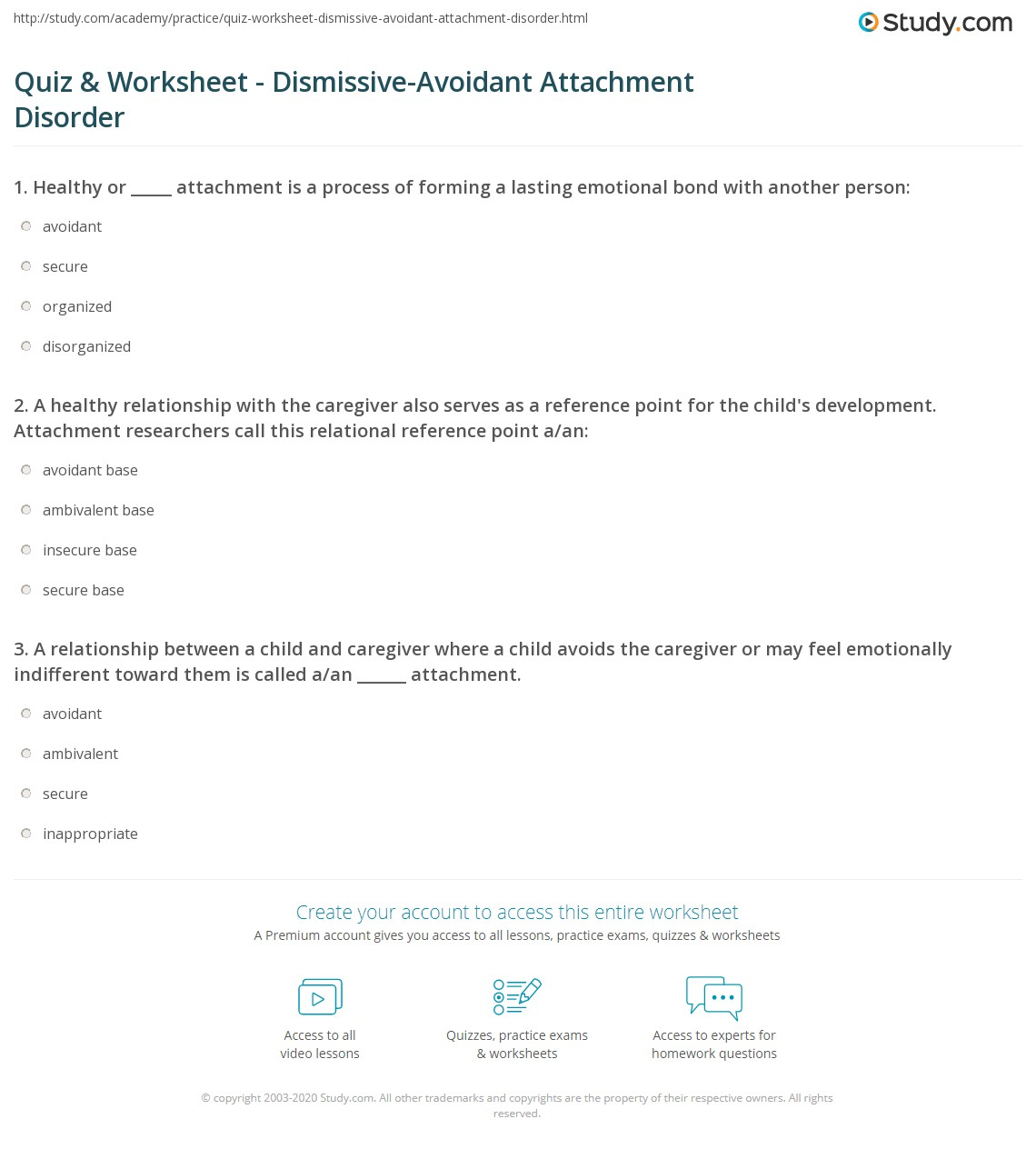 Printables Healthy Relationships Worksheet quiz worksheet dismissive avoidant attachment disorder study com a healthy relationship with the caregiver also serves as reference point for childs development resear