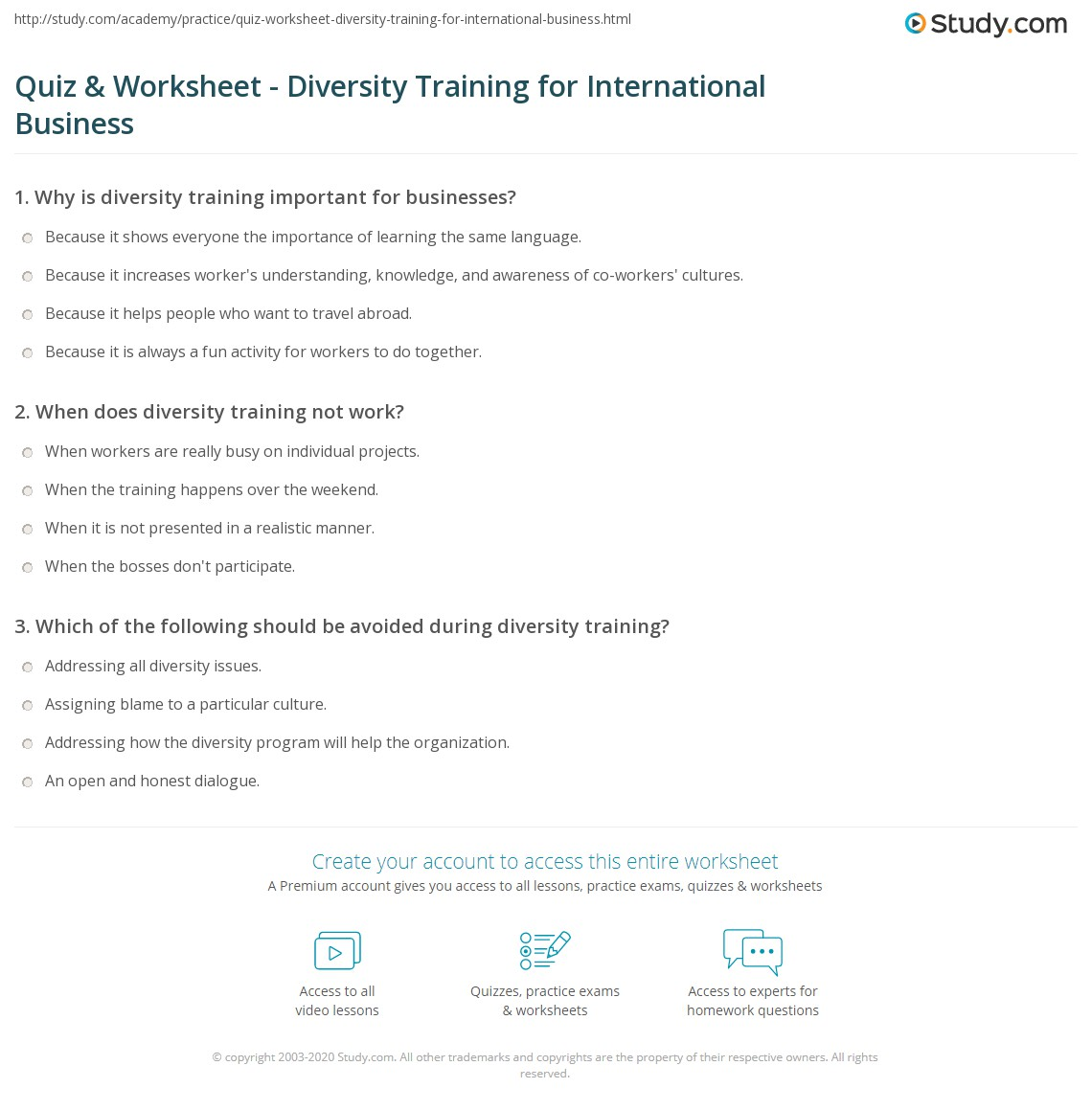 Printables Diversity Worksheets quiz worksheet diversity training for international business print benefits of in globalized worksheet