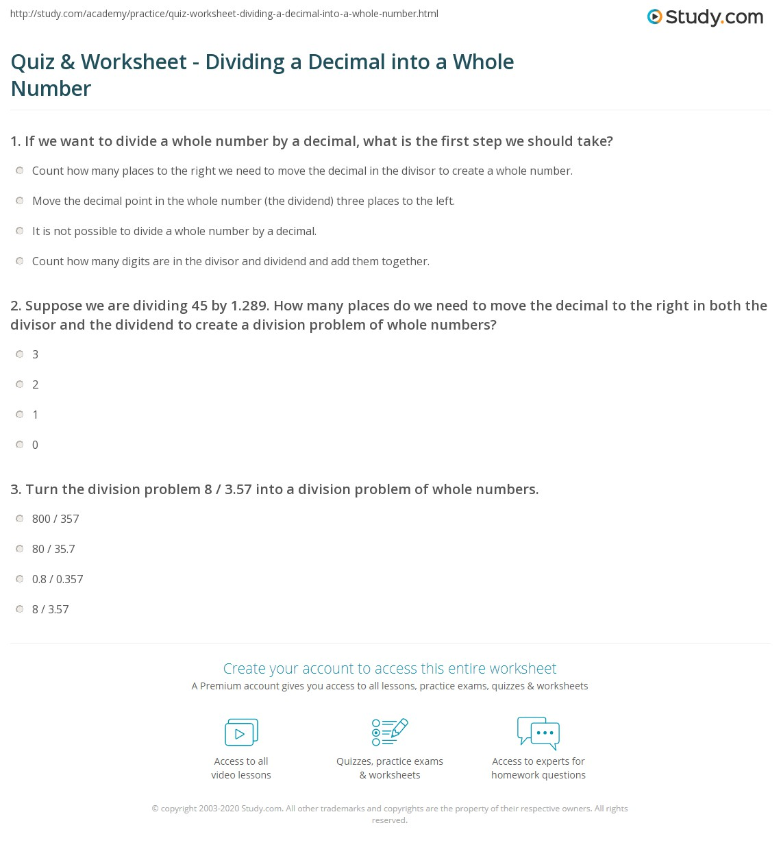 Quiz and Worksheet Dividing a Decimal into a Whole Number – Dividing Whole Numbers by Decimals Worksheet