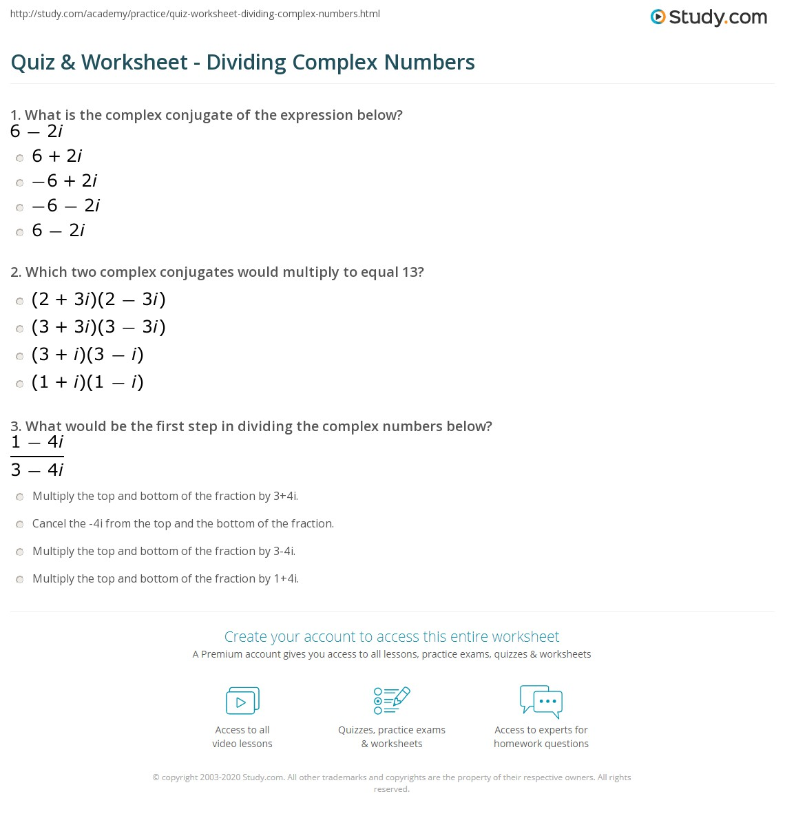 Dividing Complex Numbers Worksheet Decimals Worksheets Dynamically