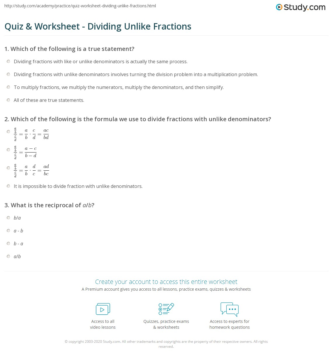 Print How To Divide Fractions With Unlike Denominators Worksheet Quiz &  Worksheet Dividing Unlike Fractions Study
